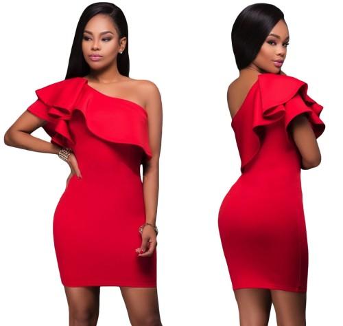 d09589bf02c840 Sukienka czerwona hiszpanka z falbaną Dafnis