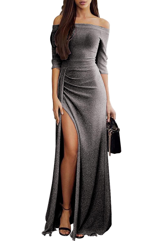 Długa, czarna, błyszcząca maxi sukienka