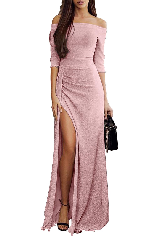 Długa różowa sukienka, maxi ze srebrną nitką